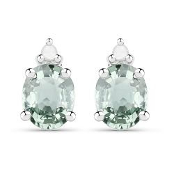 0.64 Carat Genuine Green Sapphire and White Diamond .925 Sterling Silver Earrings