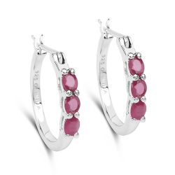 1.32 Carat Genuine Glass Filled Ruby .925 Sterling Silver Earrings