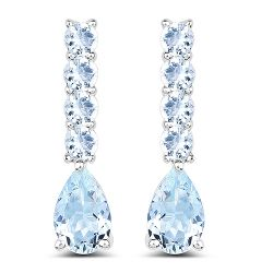 2.40 Carat Genuine Aquamarine .925 Sterling Silver Earrings