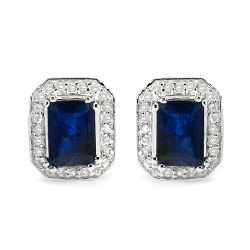 3.54 Carat Glass Filled Sapphire and White Topaz .925 Sterling Silver Earrings