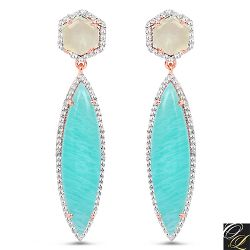 14K Rose Gold Plated 17.14 Carat Genuine Amazonite, Prehnite And White Topaz .925 Sterling Silver Earrings