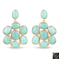 14K Yellow Gold Plated 25.73 Carat Genuine Amazonite .925 Sterling Silver Earrings