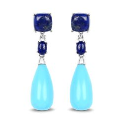 28.48 Carat Genuine Turquoise, Lapis and White Topaz .925 Sterling Silver Earrings