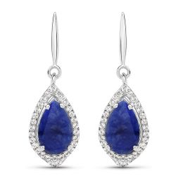 2.52 Carat Genuine Blue Aventurine And White Topaz .925 Sterling Silver Earrings