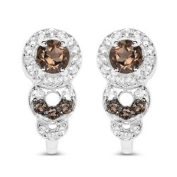 0.81 Carat Genuine Smoky Quartz and White Topaz .925 Sterling Silver Earrings