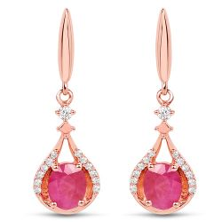 0.70 Carat Genuine Ruby and White Diamond 14K Rose Gold Earrings