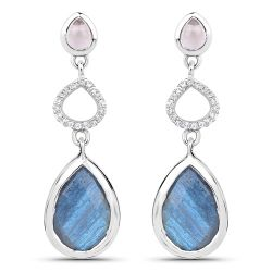 """9.57 Carat Genuine Rose Quartz, Labradorite And White Topaz .925 Sterling Silver Earrings"""