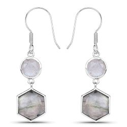 10.74 Carat Genuine Labradorite .925 Sterling Silver Earrings