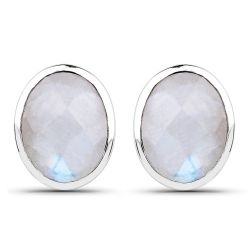 4.05 Carat Genuine White Rainbow Moonstone .925 Sterling Silver Earrings