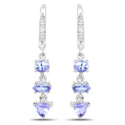 2.07 Carat Genuine Tanzanite and White Topaz .925 Sterling Silver Earrings