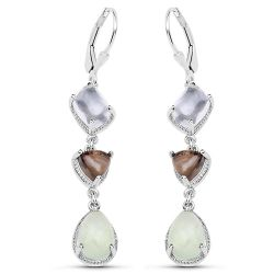 """9.56 Carat Genuine Crystal Quartz, Smoky Quartz and Prehnite .925 Sterling Silver Earrings"""