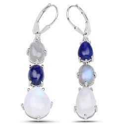 """10.17 Carat Genuine Lapis, Labradorite and White Rainbow Moonstone .925 Sterling Silver Earrings"""