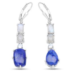 """10.12 Carat Genuine Labradorite, Lapis and Blue Topaz .925 Sterling Silver Earrings"""
