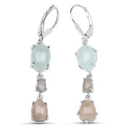 """8.30 Carat Genuine Smoky Quartz, Labradorite and Aquamarine .925 Sterling Silver Earrings"""
