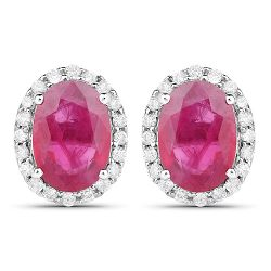 2.06 Carat Genuine Ruby and White Diamond 14K White Gold Earrings
