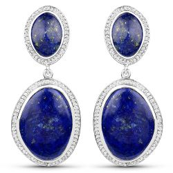 26.49 Carat Genuine Lapis and White Topaz .925 Sterling Silver Earrings