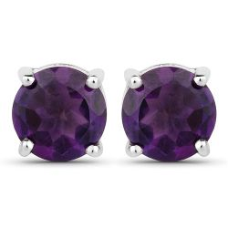 1.46 Carat Genuine Amethyst .925 Sterling Silver Earrings