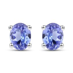 0.40 Carat Genuine Tanzanite .925 Sterling Silver Earrings
