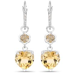 6.38 Carat Genuine Citrine & White Topaz .925 Sterling Silver Earrings