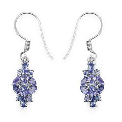 2.04 Carat Genuine Tanzanite .925 Sterling Silver Earrings