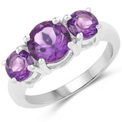 2.35 Carat Genuine Amethyst .925 Sterling Silver Ring