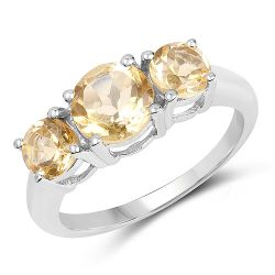 2.25 Carat Genuine Citrine .925 Sterling Silver Ring