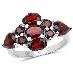 3.71 Carat Genuine Garnet .925 Sterling Silver Ring