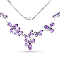 15.72 Carat Genuine Amethyst .925 Sterling Silver Necklace