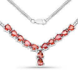 1.81 Carat Genuine Orange Sapphire and White Diamond .925 Sterling Silver Necklace