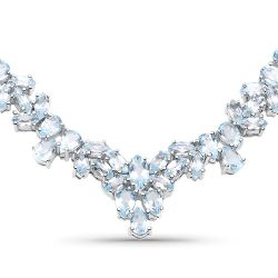 56.18 Carat Genuine Blue Topaz .925 Sterling Silver Necklace