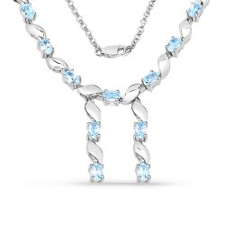 7.65 Carat Genuine Blue Topaz .925 Sterling Silver Necklace