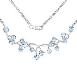 7.36 Carat Genuine Blue Topaz .925 Sterling Silver Necklace