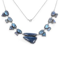 63.45 Carat Genuine Labradorite .925 Sterling Silver Necklace