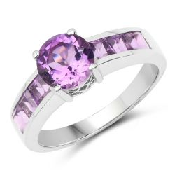 2.03 Carat Genuine Amethyst .925 Sterling Silver Ring