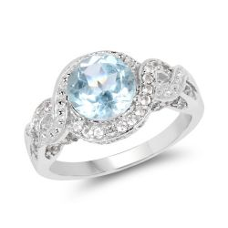 3.26 Carat Genuine Blue Topaz and White Topaz .925 Sterling Silver Ring