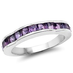 1.68 Carat Genuine Amethyst .925 Sterling Silver Ring