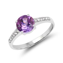 1.32 Carat Genuine Amethyst & White Topaz .925 Sterling Silver Ring