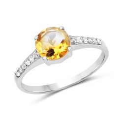 1.32 Carat Genuine Citrine & White Topaz .925 Sterling Silver Ring