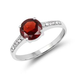 1.66 Carat Genuine Garnet & White Topaz .925 Sterling Silver Ring