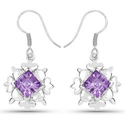 4.97 Carat Genuine Amethyst .925 Sterling Silver Earrings