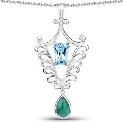 9.23 Carat Genuine Emerald and Swiss Blue Topaz .925 Sterling Silver Pendant