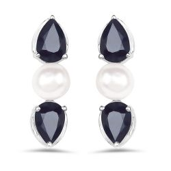 3.08 Carat Genuine Blue Sapphire and Pearl .925 Sterling Silver Earrings