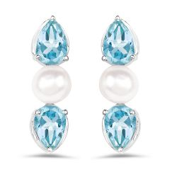 3.12 Carat Genuine Blue Topaz and Pearl .925 Sterling Silver Earrings