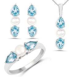 """6.24 Carat Genuine Blue Topaz and Pearl .925 Sterling Silver Ring, Pendant & Earrings Set"""