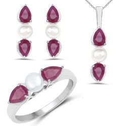 5.60 Carat Genuine Ruby and Pearl .925 Sterling Silver Ring, Pendant & Earrings Set