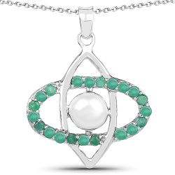2.58 Carat Genuine Pearl and Emerald .925 Sterling Silver Pendant