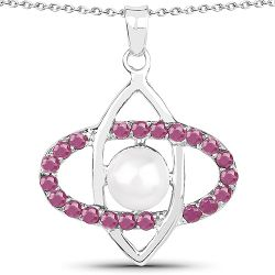 3.00 Carat Genuine Pearl and Ruby .925 Sterling Silver Pendant