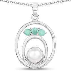 2.25 Carat Genuine Pearl and Emerald .925 Sterling Silver Pendant