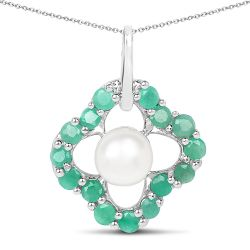 2.80 Carat Genuine Emerald and Pearl .925 Sterling Silver Pendant