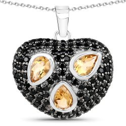 2.94 Carat Genuine Citrine & Black Spinel .925 Sterling Silver Pendant